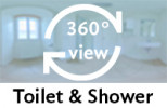 360° view of toilet & shower