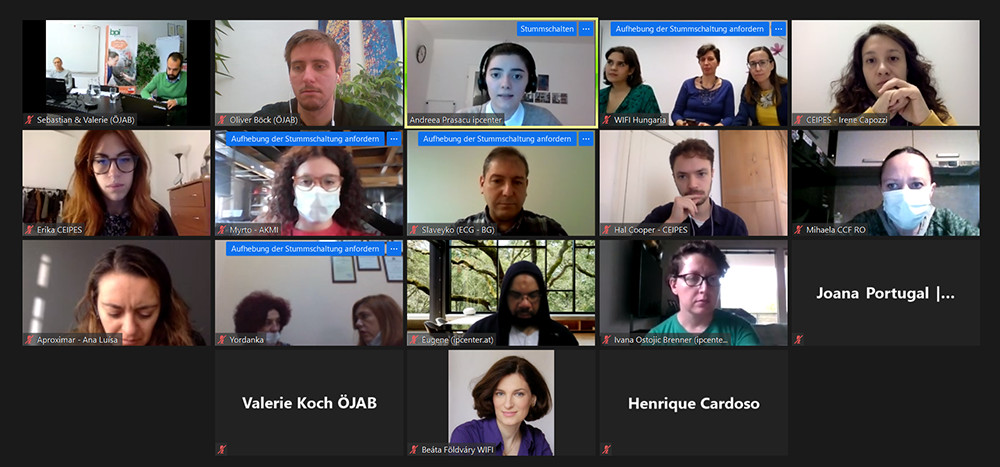 EUpTrain-TeilnehmerInnen in einer gemeinsamen Online-Konferenz.