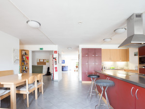 Comunal kitchen of a intergenerational living flat.