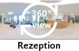 360-Grad-Aufnahme der Rezeption im Erdgeschoss
