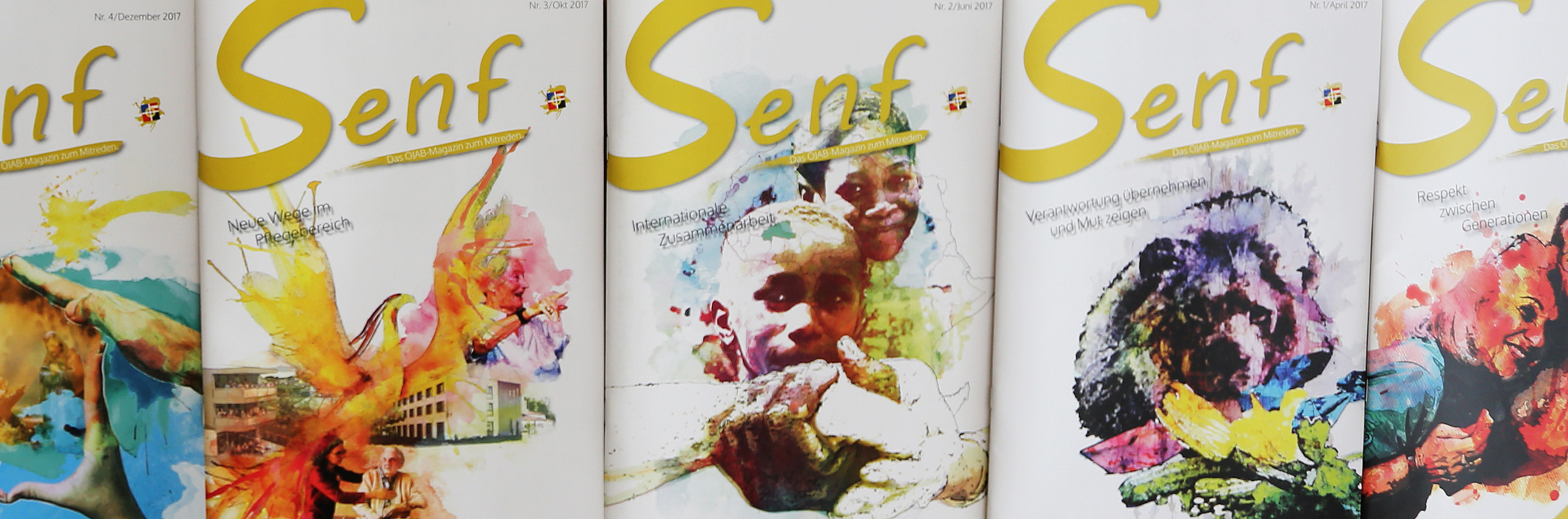 "Collage of several title covers of the ÖJAB magazine ""Senf"""