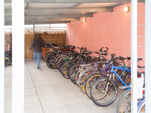 Bicycle storage space at the ÖJAB-Haus Mödling.