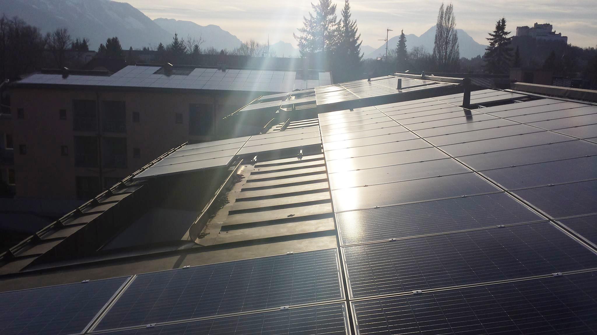 Photovoltaic system at the nursing home SeniorInnenwohnanlage Aigen.