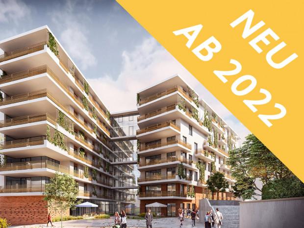 Rednering Außenaufnahme ÖJAB-Haus Neumargareten im neuen Lebenscampus Wolfganggasse. Rendering: b18 architekten ztgmbh.