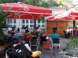 BewohnerInnen sitzend vor Musiker im Garten des Hauses.