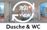 360-Grad-Aufnahme des Badezimmers im Einbettzimmer.