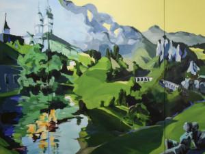 """""""NÖ1 MonumentalVerbinder"""" von Birgit Schweiger aus 2019. Technik: Acryl/Canvas. Maße: 500 x 140 cm."""