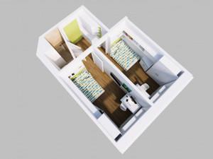 Illustration of a single room of the ÖJAB-Haus Niederösterreich 1.