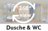 360-Grad-Aufnahme des Badezimmers im Zweibettzimmer.