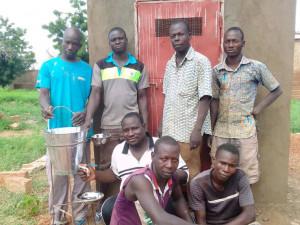Locals in front of a new sanitary facility in Samba (Burkina Faso).