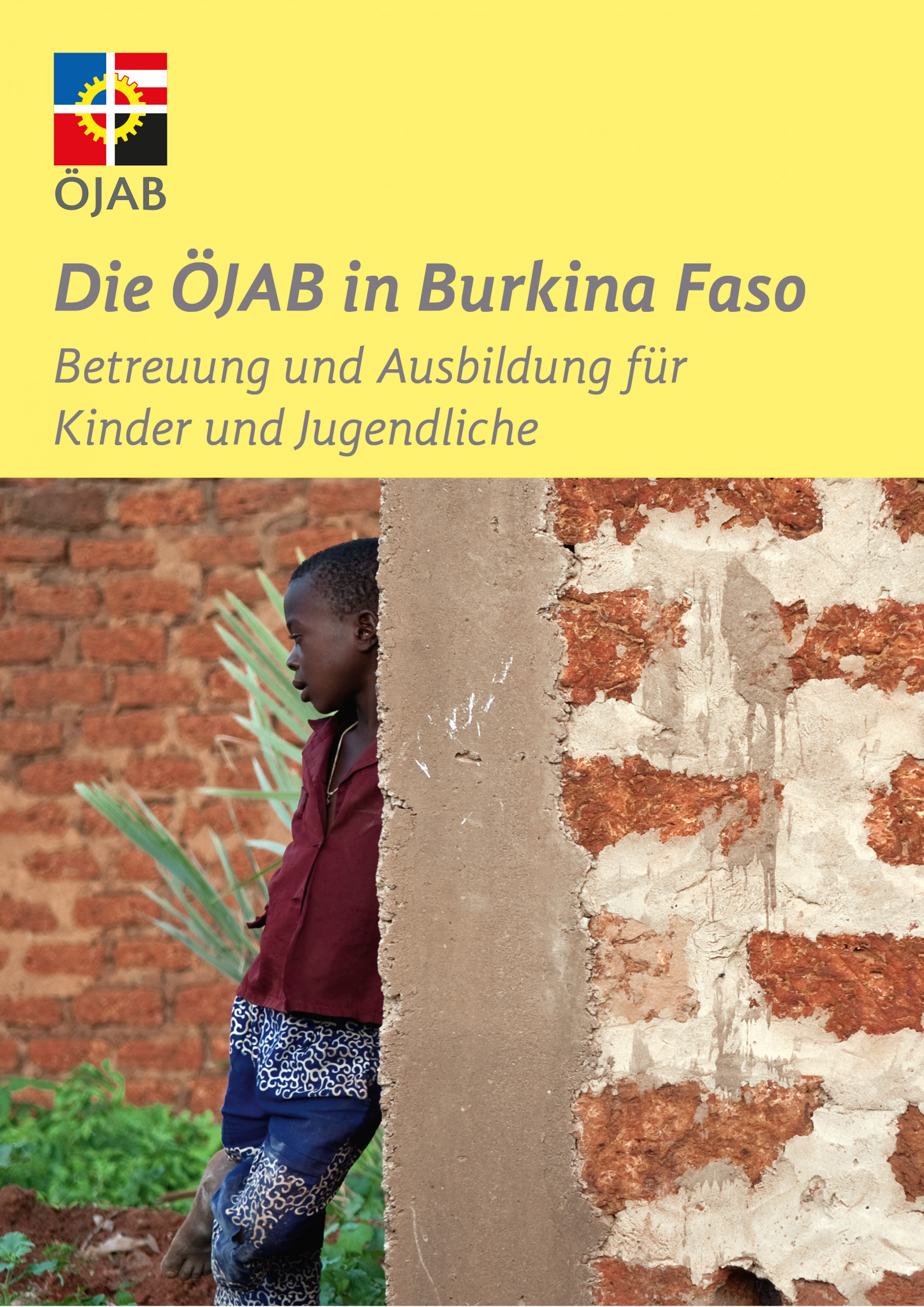 Cover of the ÖJAB development cooperation folder about support and education for children and youths in Burkina Faso.