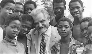 Bruno Buchwieser with children in Upper Volta (now Burkina Faso), 1970s.