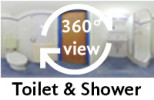 360-view of a bathroom in a Twin Room.