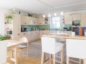 Communal kitchen at the ÖJAB-Haus Salzburg in Salzburg.