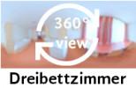 360-Grad-Aufnahme des Dreibettzimmers