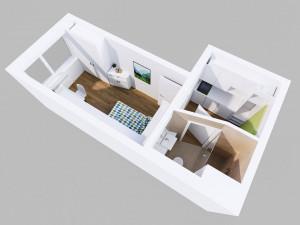 Ground plan illustration of a Single Studio at the ÖJAB-Haus Niederösterreich 1.