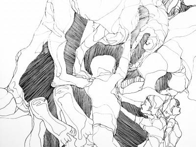 Zeichnung von Birgit Schweiger aus 2019. Technik: Acrylmarker/Gesso/Holz/Lack. Maße 50 x 50 cm.