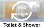 360-view of a bathroom.