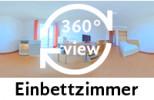360-Grad-Aufnahme des Einbettzimmers