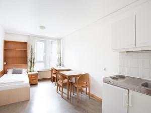 Einbettzimmer des ÖJAB-Hauses Donaufeld.