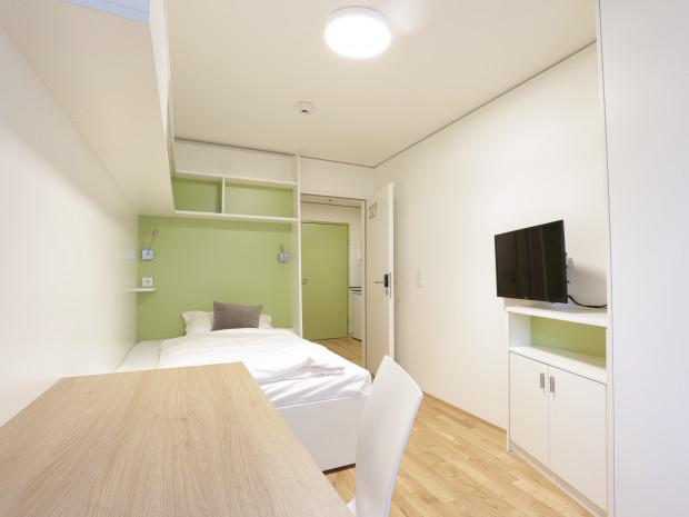 Einbettzimmer des ÖJAB-Hauses Niederösterreich 1.