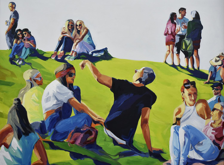 """""""FreizeitBytes"""" von Birgit Schweiger aus 2019. Technik: Acryl/Canvas. Maße 160 x 120 cm"""