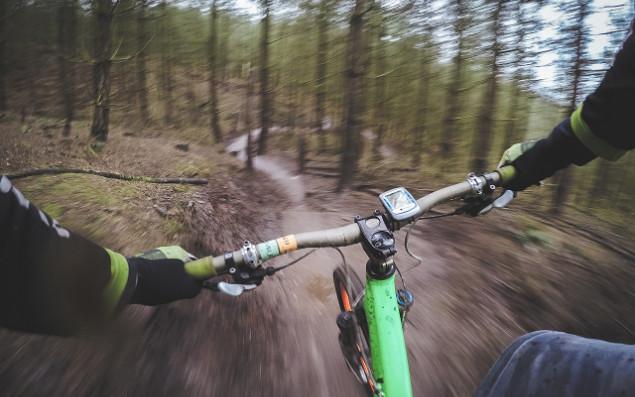 Fahrradfahren im Wald