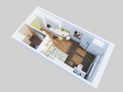 Ground plan illustration of a Single Studio XL at the ÖJAB-Haus Niederösterreich 1.