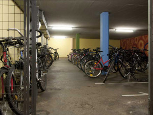 Bicycle storage space of the ÖJAB-Haus Salzburg in Salzburg.