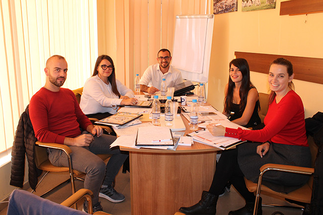 Representatives of participating partner organizations at kick-off meeting in Razlog, Bulgaria (October 23-25, 2017) (Photo Credit: Alternativi International).