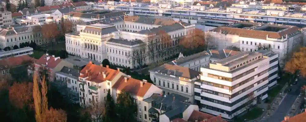 aerial view of the Karl Franzens Universitaet in Graz.